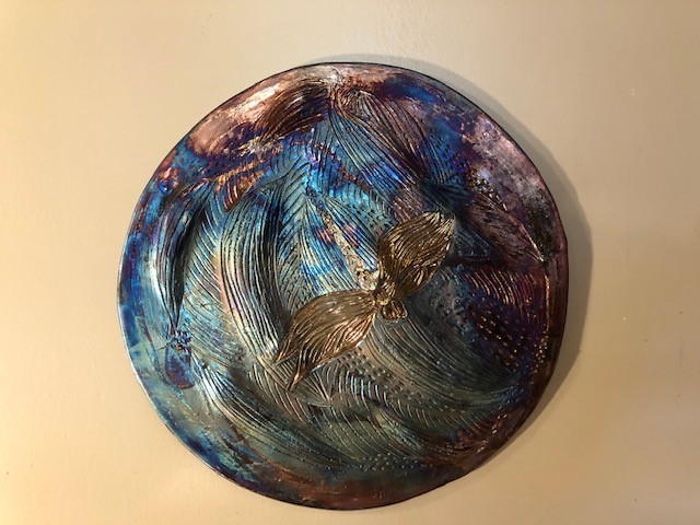 Raku Circular Wall Hangimng with Dragonfly