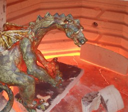 Raku Dragon Emerging from the Kiln